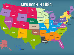 Us Map With State Names by Most Popular Name In Each State Business Insider