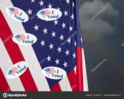 How Many Stripes Are In The American Flag Many I Voted Stickers On Stars And Stripes Usa Flag U2014 Stock Photo