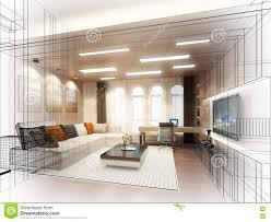 sketch design of living room 3dwire frame stock illustration