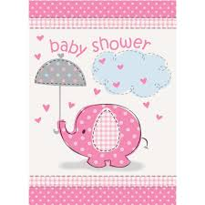 amazon com pink elephant baby shower invitations 8ct