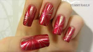 red and gold christmas water marble design nail art tutorial youtube