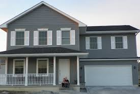 mod hous front view of my dark gray house with white shutters will do