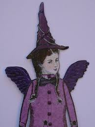 Folk Art Halloween Decorations Vintage Halloween Witch Paper Doll Fairy Decoration Or Keepsake