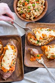 turkey shepherd s pie stuffed sweet potatoes recipe runner