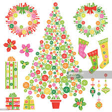 cute retro christmas decorations vector art getty images