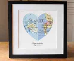 wedding gift map anniversary gift wedding gift map heart map engagement