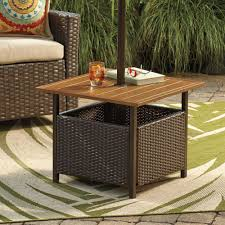 Patio Umbrella Tables by Outdoor Umbrella Stand Side Table Wooden Outdoor Side Tables