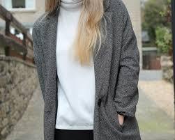 grey boyfriend coat a fedora fashion influx