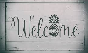 welcome with pineapple reusable stencil sizes available create