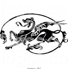 royalty free clip art vector logo of a black and white dragon by