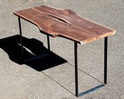 Slab Wood Table by Large Dining Table Walnut Live Edge Detail