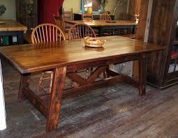 reclaimed barn wood sawbuck trestle farm table we use wood from