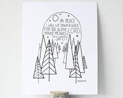 Items Similar To Art Print - hurricane harvey relief item psalm 4 8 printable bible verse art