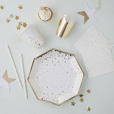 gold star foiled paper party plates by ginger ray