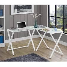 L Shaped Computer Desk White Computer Desk Glass Eulanguages Net