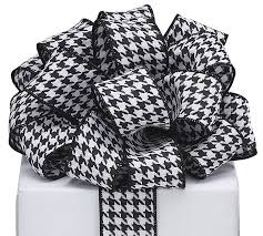 black and white wired ribbon 9 black white houndstooth wired ribbon