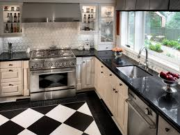 Small Black And White Kitchen Ideas L Shaped Kitchen Design With White Window Frame And Marble