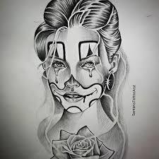 drawn clown tear pencil and in color drawn clown tear