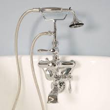 wall mount tub faucet with hand shower home design ideas image of wall mount polished brass clawfoot tub faucet with hand shower