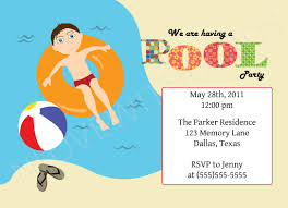 Sport Invitation Card Picturesque Pool Party Digital Invitations Features Party Dress