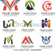 vectors of elegan letter m logo set modern concept and simple