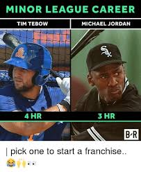 Career Meme - minor league career tim tebow michael jordan 4 hr 3 hr bar b r