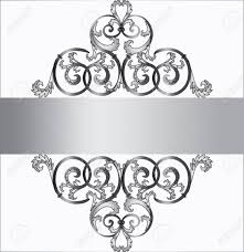 invitation card in silver with classic royal ornament vector