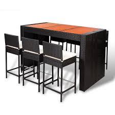 Patio Set Png Vidaxl Poly Rattan Bar Furniture Set 6 Bar Stools 1 Table With