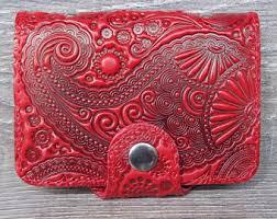 Embossed Business Card Holder Red Card Holder Etsy
