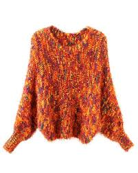 orange sweater orange color mixed fluffy knit sweater st0170001 1
