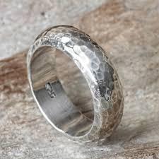 silver band bali hammered silver band ring moon walker novica