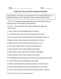 choosing there their they u0027re homophones worksheets