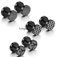 mens earrings studs 8mm pair of unisex mens stainless steel cheater ear