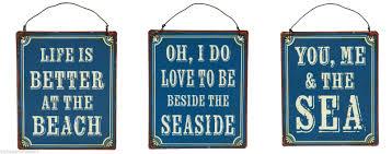 nautical mini metal blue seaside beach signs home decor gift