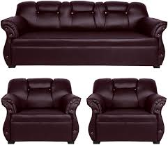 New Sofa Set Price In Bangalore Homestock Leatherette 3 1 1 Brown Sofa Set Price In India
