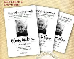 funeral program printing services funeral service etsy