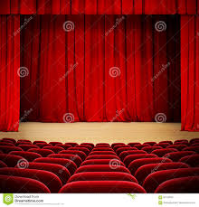 Curtains On A Stage A Theater Stage With A Red Curtain Seats And A Spotlight Stock