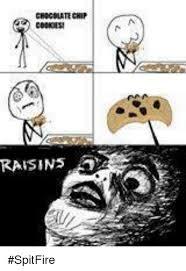 Raisins Meme - chocolate chip cookies raisins d spitfire cookies meme on me me