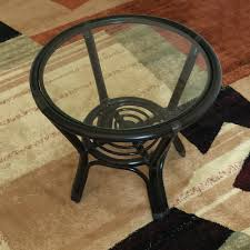 round small coffee table diana 21 u0027 u0027 color black with glass top