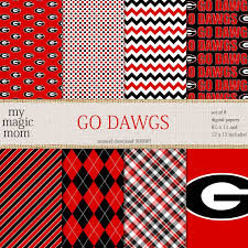 Uga Home Decor by Uga Go Dawgs Black Red White Digital Scrapbook Paper Pack