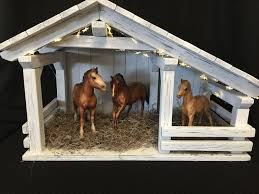 Toy Barns Nativity Stable Single Stall Barn Farm Decor Displays Kids