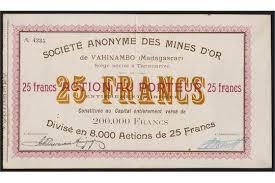 but siege social madagascar s a des mines d or de vahinambo 25 franc