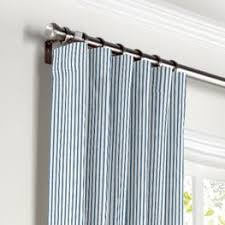 Ticking Stripe Curtains Blue Ticking Stripe Fabric White Line Blueberry Loom Decor