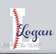 Monogram Wall Decals For Nursery Baseball Wall Decal Boy Name Initial Monogram Sports Wall