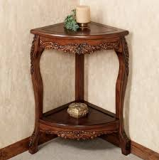 corner table design plan with wooden varnishing frames and carving