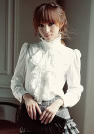 blouse band white bow ruffle band collar neck sleeve blouse