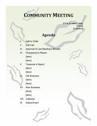 community meeting agenda office templates