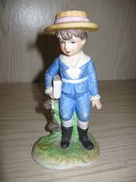 Home Interior Porcelain Figurines by Ceramic Figurine Little Boy Carrying Book Wearing Sailor Suit 1980