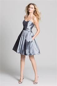 line short charcoal grey taffeta graduation party bridesmaid dress