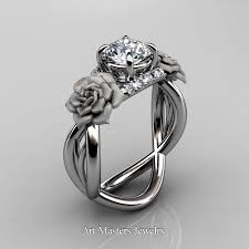 sapphire wedding rings images Nature inspired 14k white gold 1 0 ct white sapphire diamond rose jpg
